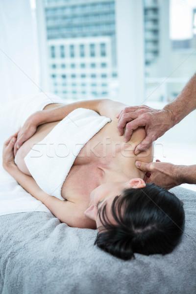 Pregnant woman receiving a back massage from masseur Stock photo © wavebreak_media