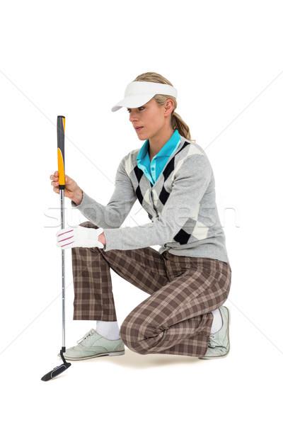 Jogador de golfe balançar golfball mulher golfe meta Foto stock © wavebreak_media