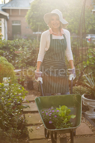 Feminino jardineiro plantas carrinho de mão retrato Foto stock © wavebreak_media