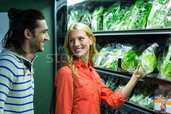 Stock fotó: Boldog · pár · kiválaszt · zöldségek · organikus · részleg