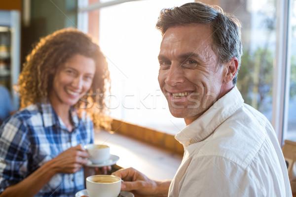Couple having a cup of tea in supermarket Stock photo © wavebreak_media