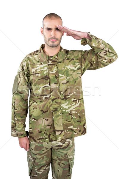 Retrato soldado negócio homem tabela guerra Foto stock © wavebreak_media