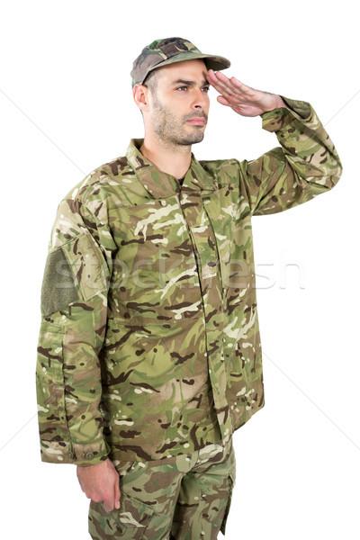 Asker adam doğa savaş eğlence top Stok fotoğraf © wavebreak_media