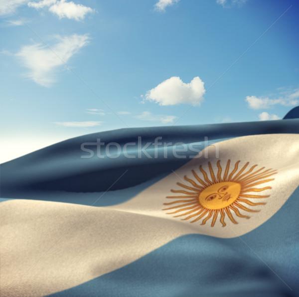 Photo stock: Image · Argentine · pavillon · vent