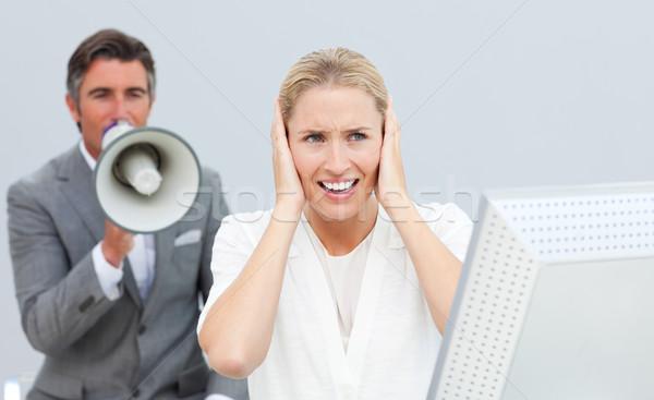 Compétitif gestionnaire mégaphone collègues oreilles Photo stock © wavebreak_media