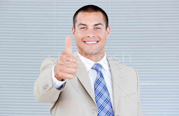 Affaires pouce up bureau heureux Photo stock © wavebreak_media