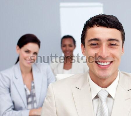 Stock fotó: Bájos · emberek · beszélnek · együtt · munka · iroda · nő
