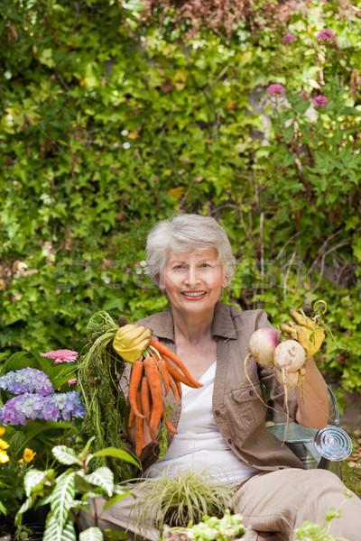 Emeryturę kobieta pracy ogród trawy szczęśliwy Zdjęcia stock © wavebreak_media