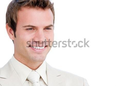 Közelkép mosolygó nő fehér háttér siker cég Stock fotó © wavebreak_media