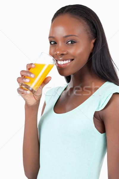 вид сбоку улыбающаяся женщина апельсиновый сок белый стекла здоровья Сток-фото © wavebreak_media