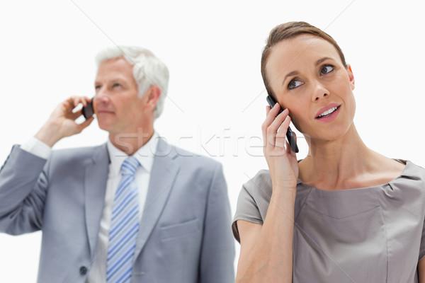 Telefone mulher cabelos brancos empresário mulher homem Foto stock © wavebreak_media