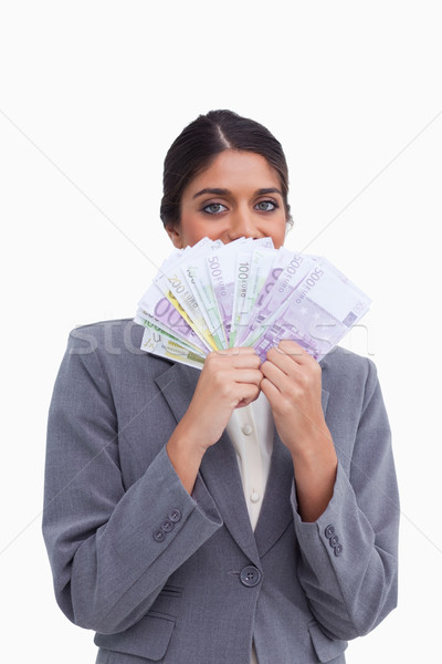 Kadın gizleme yüz arkasında banka Stok fotoğraf © wavebreak_media
