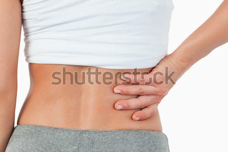 Zdjęcia stock: Kobieta · powrót · biały · ręce