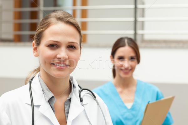 Nővér orvos áll kórház recepció boldog Stock fotó © wavebreak_media