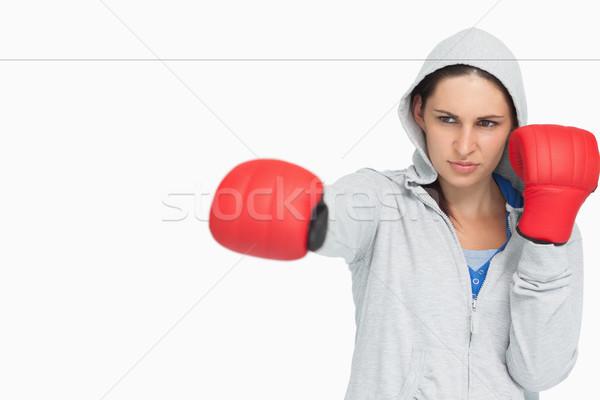 Esmer kadın boks beyaz spor Stok fotoğraf © wavebreak_media
