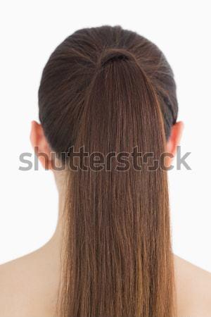 Mulher juntos longo cabelo castanho feminino limpar Foto stock © wavebreak_media