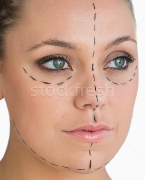 Higgadt nő kész arc lift fehér Stock fotó © wavebreak_media
