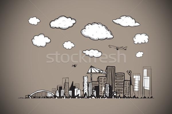 Stock fotó: összetett · kép · városkép · firka · szürke · város