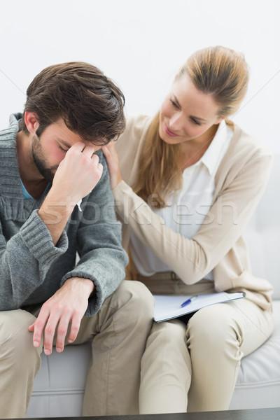 Moço reunião psicólogo escritório mulher estresse Foto stock © wavebreak_media