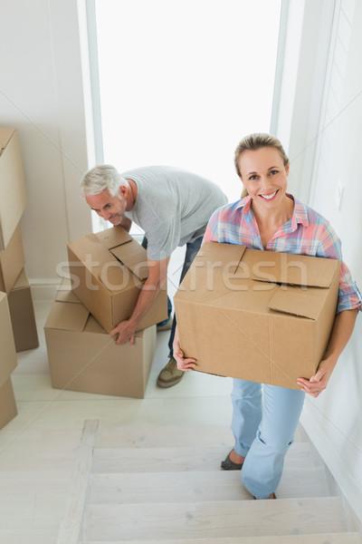 Boldog pár hordoz karton költözködő dobozok új otthon Stock fotó © wavebreak_media