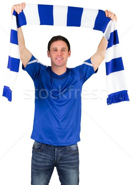 Futebol ventilador azul cachecol branco Foto stock © wavebreak_media