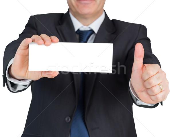Maturité affaires carte vierge blanche costume Photo stock © wavebreak_media