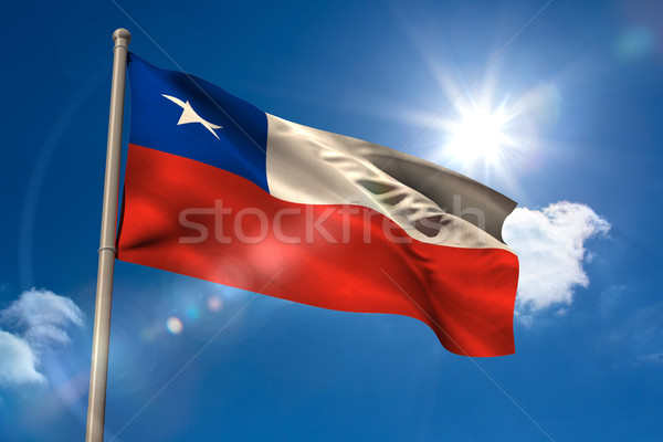 Chile banderą maszt Błękitne niebo słońce świetle Zdjęcia stock © wavebreak_media