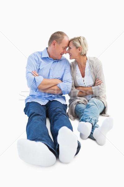 Gelukkig volwassen paar glimlachend ander witte Stockfoto © wavebreak_media