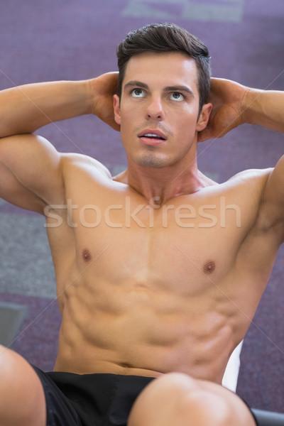 Izmos férfi abdominális tornaterem közelkép sport Stock fotó © wavebreak_media