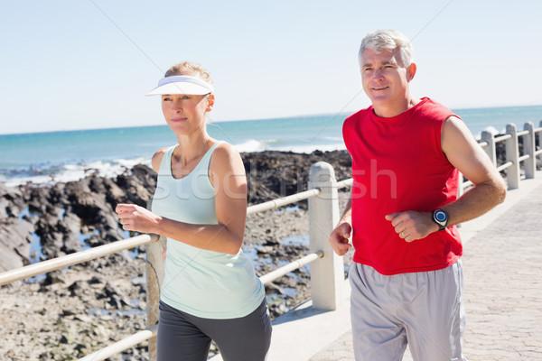 Fitt érett pár jogging együtt móló Stock fotó © wavebreak_media