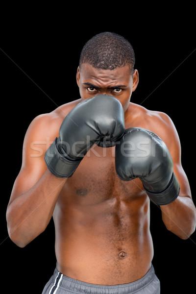 Portret półnagi muskularny bokser postawa czarny Zdjęcia stock © wavebreak_media