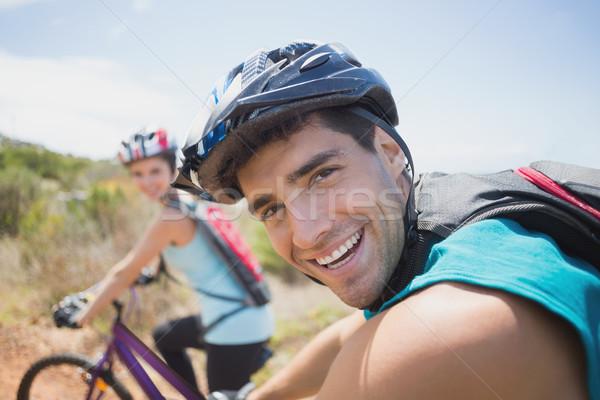 спортивный пару Горный велосипед вид сбоку человека счастливым Сток-фото © wavebreak_media