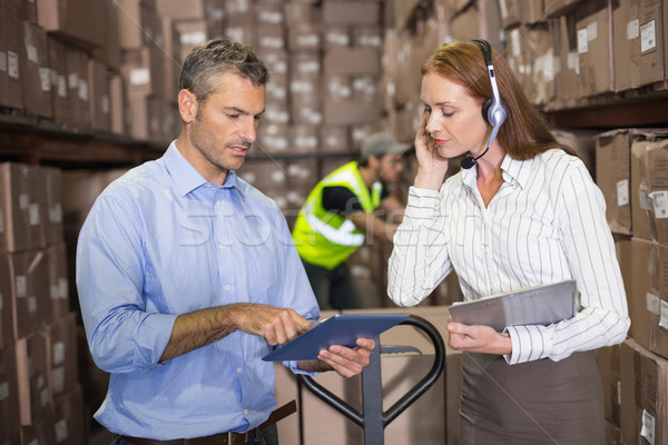 Warehouse manager and foreman working together Stock photo © wavebreak_media