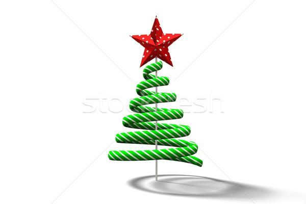 Zöld karácsonyfa spirál terv fehér Stock fotó © wavebreak_media