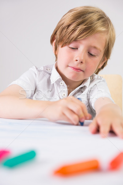 Student using crayons to draw Stock photo © wavebreak_media