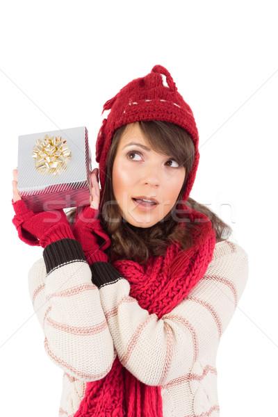 若い女性 ギフト 注文 推測 何 幸せ ストックフォト © wavebreak_media