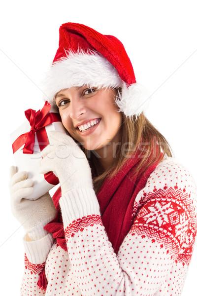 Zdjęcia stock: Portret · uśmiechnięty · młoda · kobieta · dar · biały