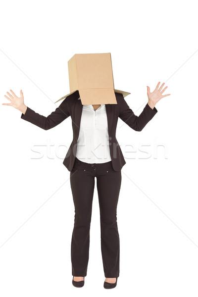 Anonim üzletasszony kezek magasban fehér doboz öltöny Stock fotó © wavebreak_media