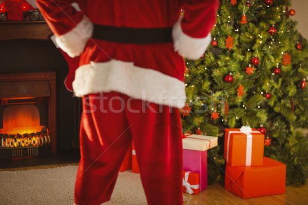 Középső rész mikulás áll karácsonyfa otthon nappali Stock fotó © wavebreak_media