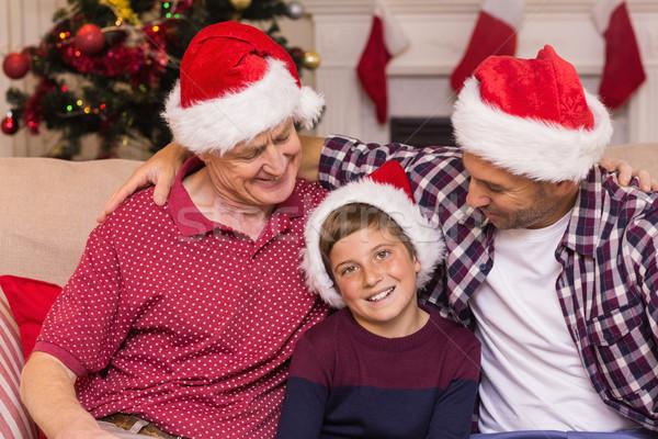 ストックフォト: 肖像 · 祖父 · 父から息子 · サンタクロース · ホーム