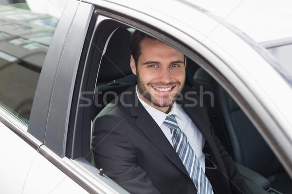 бизнесмен сидят сиденье автомобилей окна костюм Сток-фото © wavebreak_media