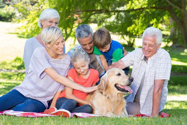 счастливая семья собака парка женщину дерево Сток-фото © wavebreak_media