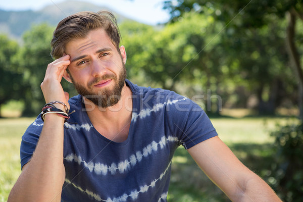 Knap hoofdpijn man natuur zomer Stockfoto © wavebreak_media