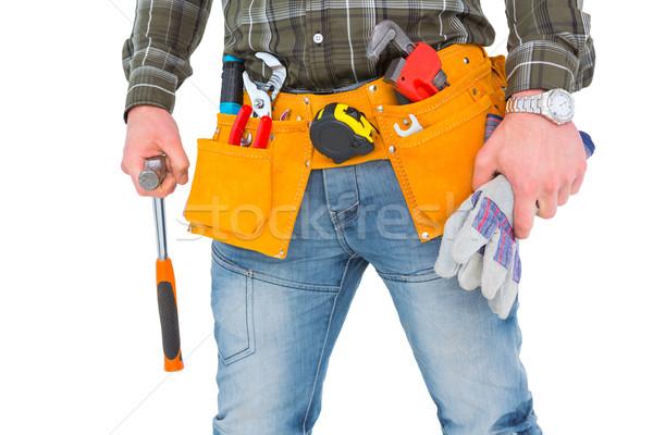 Werknemer handschoenen hamer Stockfoto © wavebreak_media