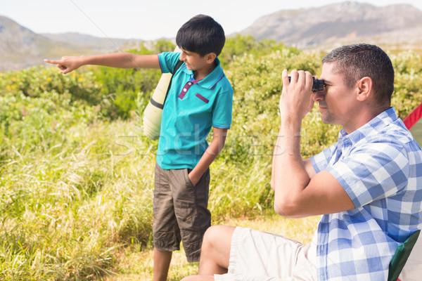 Baba oğul çadır adam çocuk Stok fotoğraf © wavebreak_media