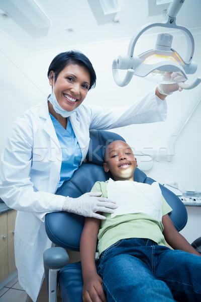 Foto stock: Feminino · dentista · meninos · dentes · dentistas