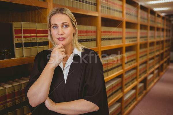 Sério advogado pensando mão queixo biblioteca Foto stock © wavebreak_media