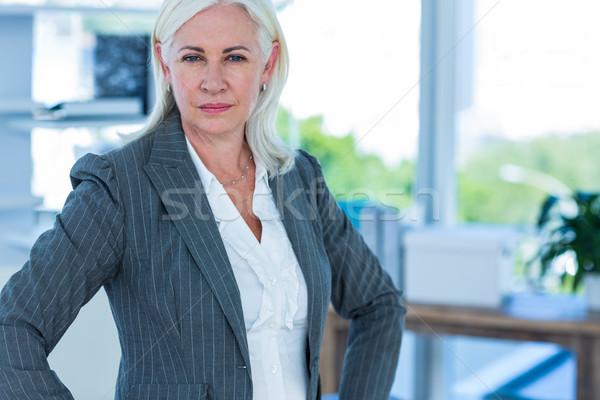 Ernstig zakenvrouw naar camera handen heupen Stockfoto © wavebreak_media