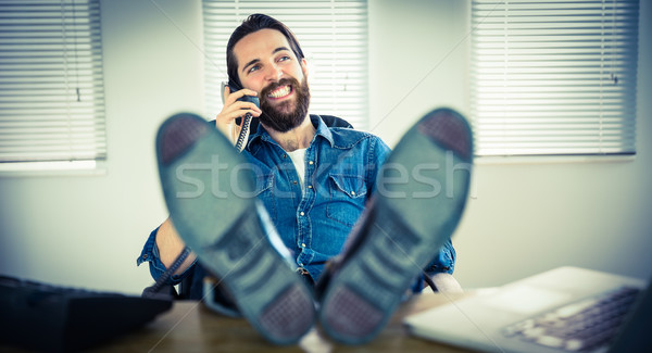 ヒップスター ビジネスマン コール オフィス 電話 幸せ ストックフォト © wavebreak_media