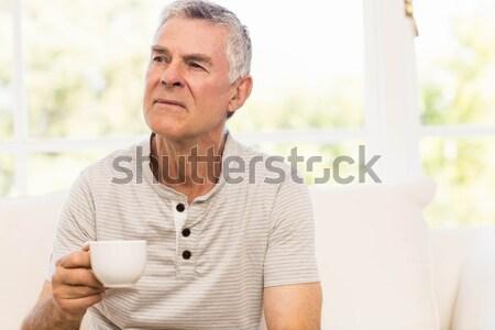 Olgun adam kahve balkon ev adam düşünme Stok fotoğraf © wavebreak_media